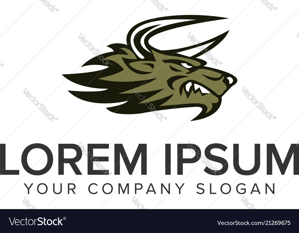 Wolf beast logo design concept template fully vector
