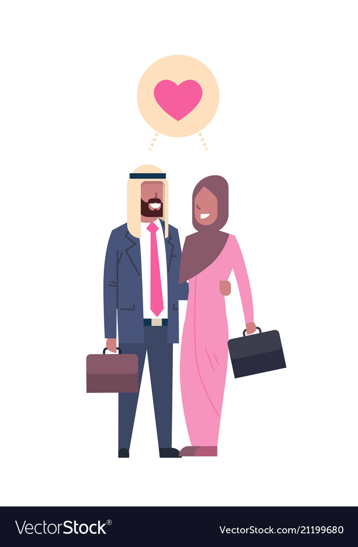 Arab business parents with suitcase couple in love