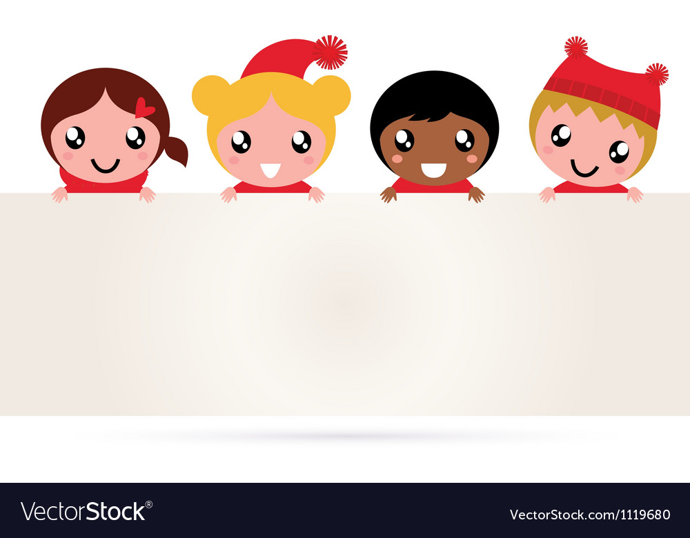 Cute multicultural christmas kids banner vector image