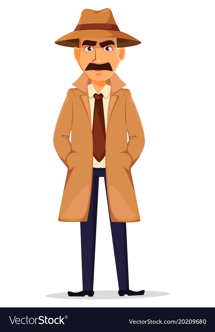 Detective in hat and coat handsome character
