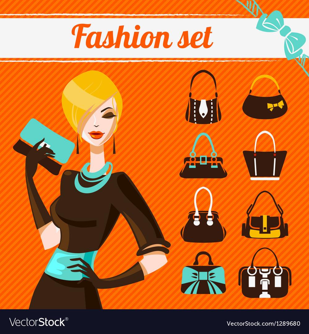 Fashion woman set vector image