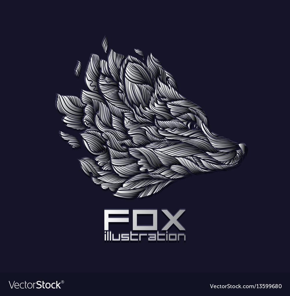 Fox or wolf design icon logo luxury silver vector image