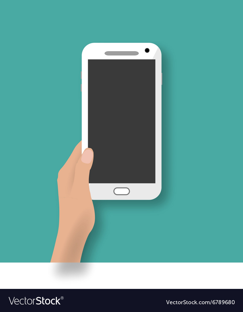 Hand holding white touch phone