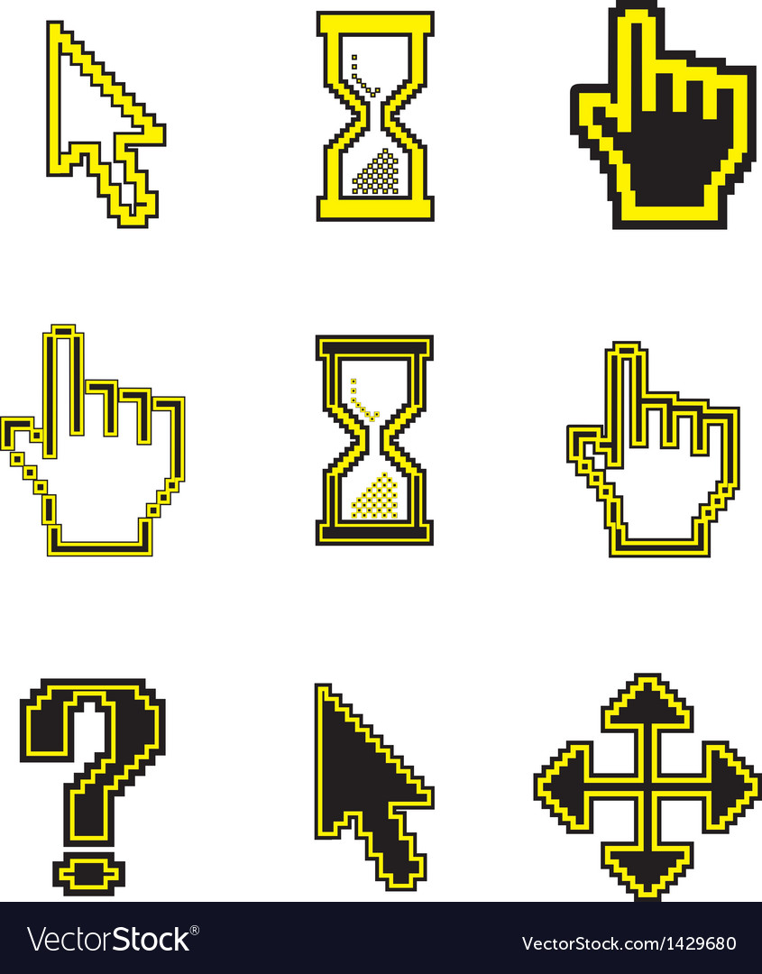 Pixel cursors icons-arrow hourglass hand mouse