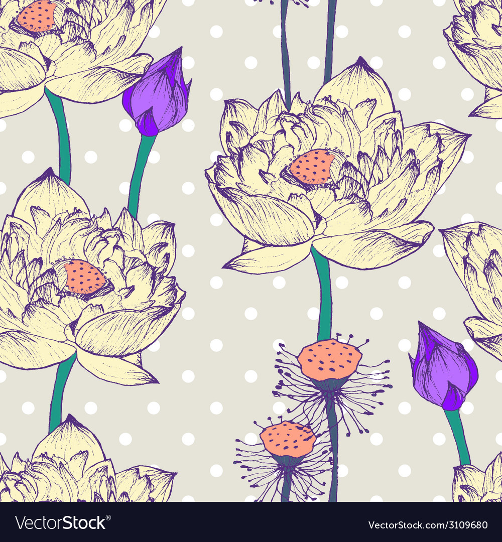 Seamless pattern with lotus flower and dots