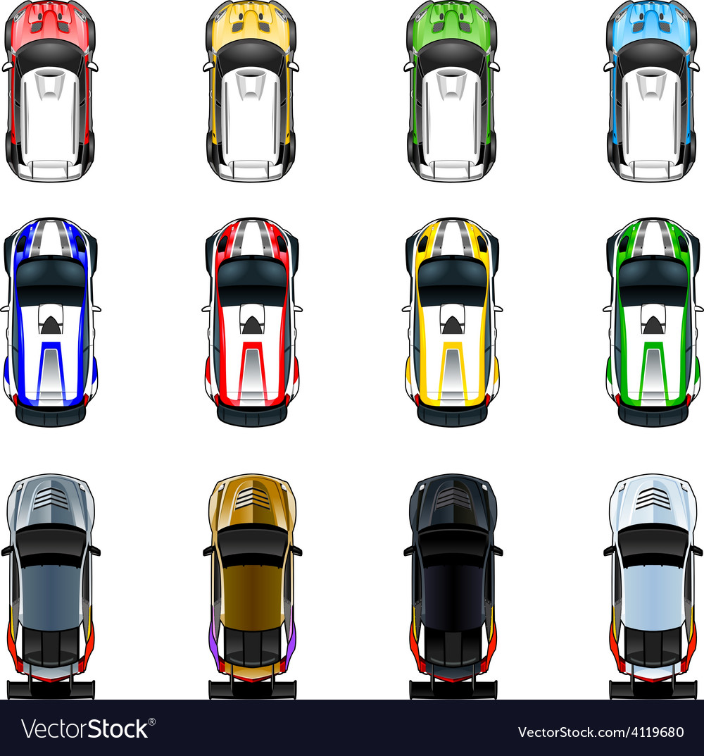 Set of three cars in four different colors