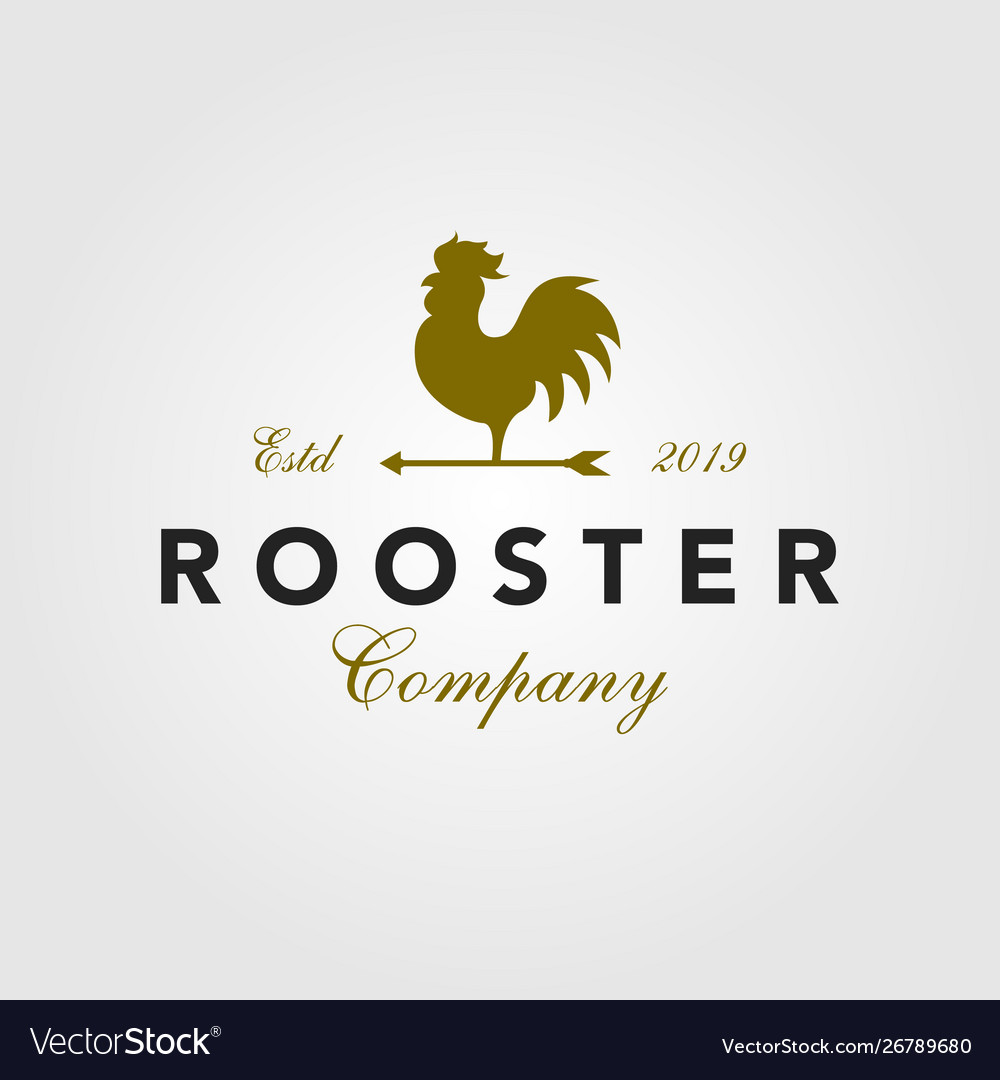 Vintage rooster logo arrow icon