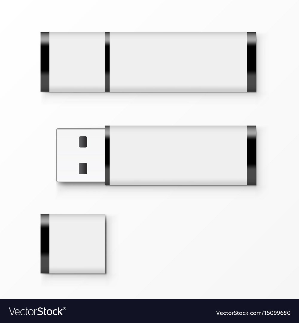 White usb flash drive template for advertising vector image