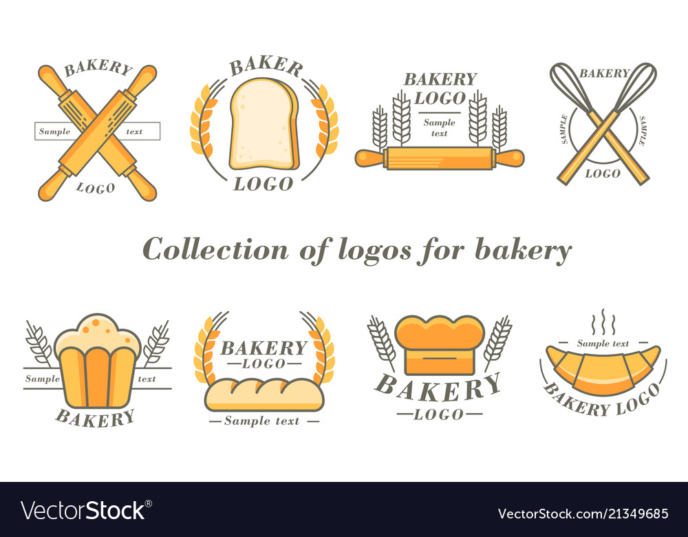 Bakery and donuts collections logo flat color