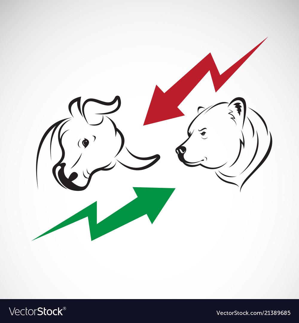Bull and bear symbols of stock market trends the