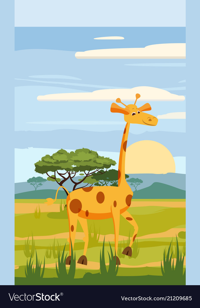 Cute giraffe cartoon on background landscape