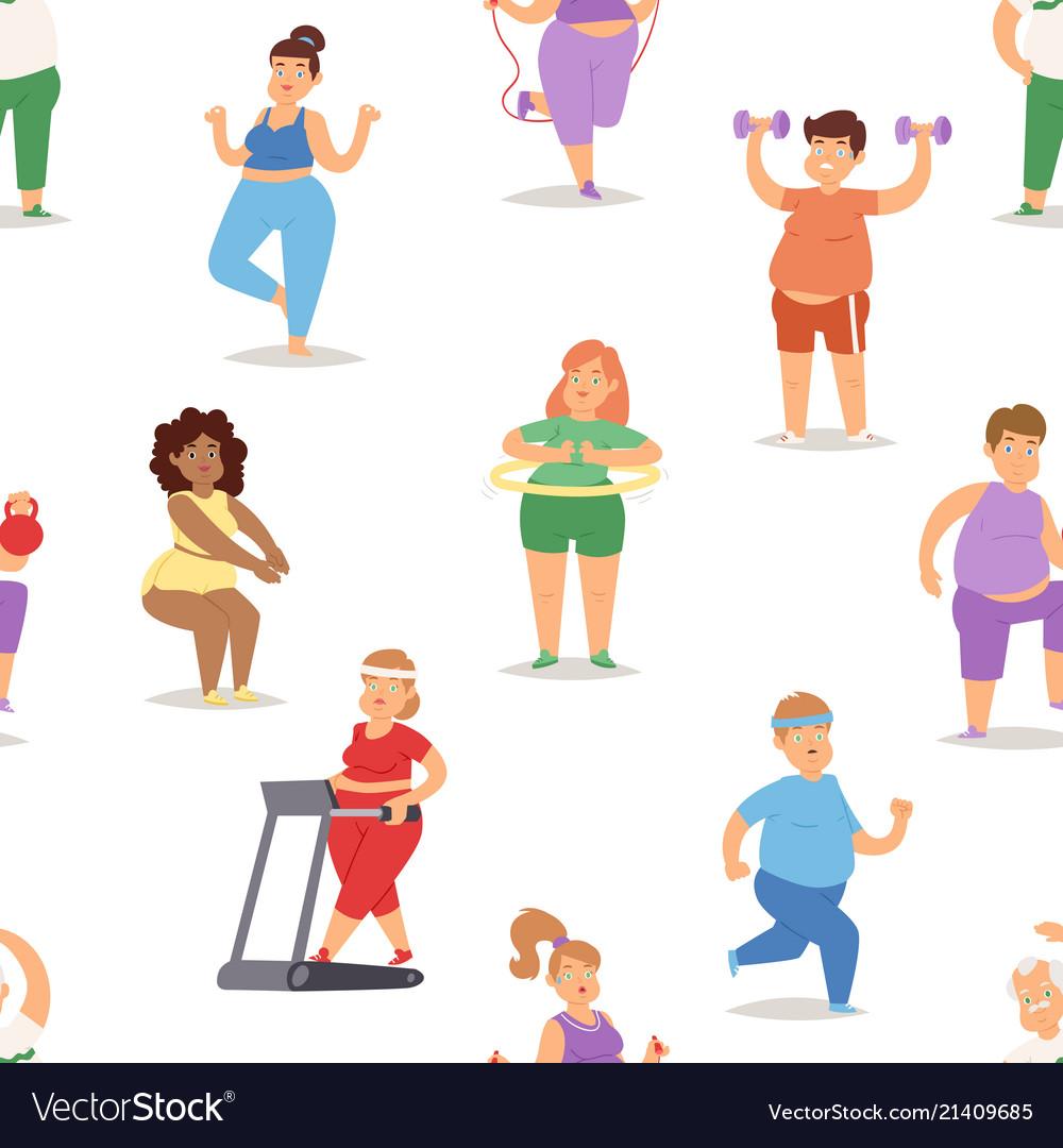 Fat people doing exercise training gym gymnasium