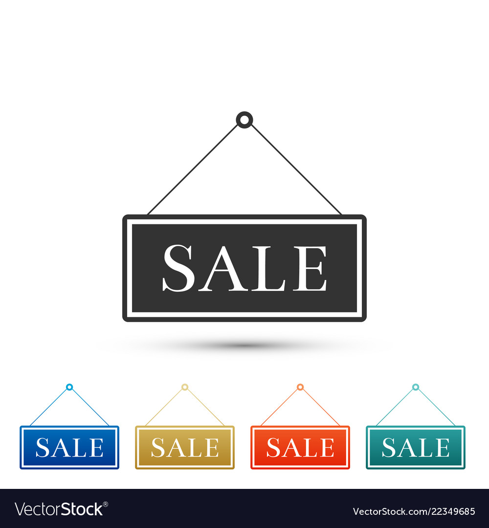 Hanging sign with text sale icon isolated