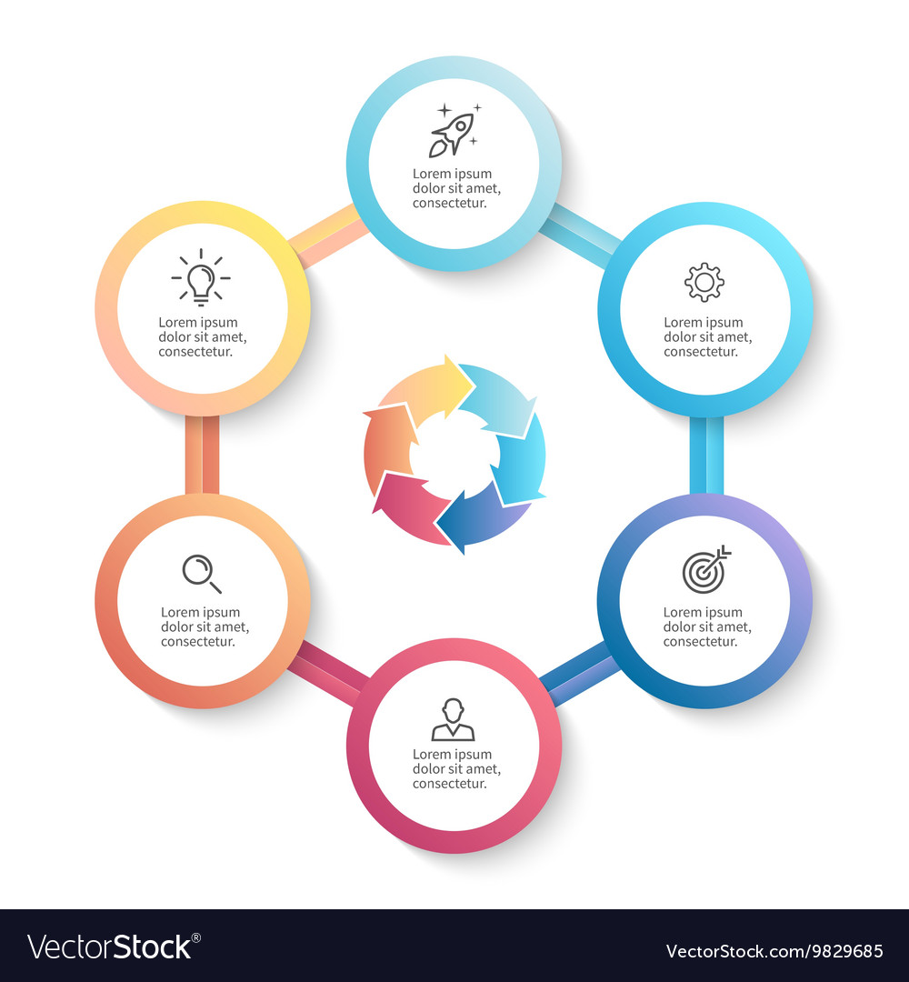 Infographic business template with 6 options