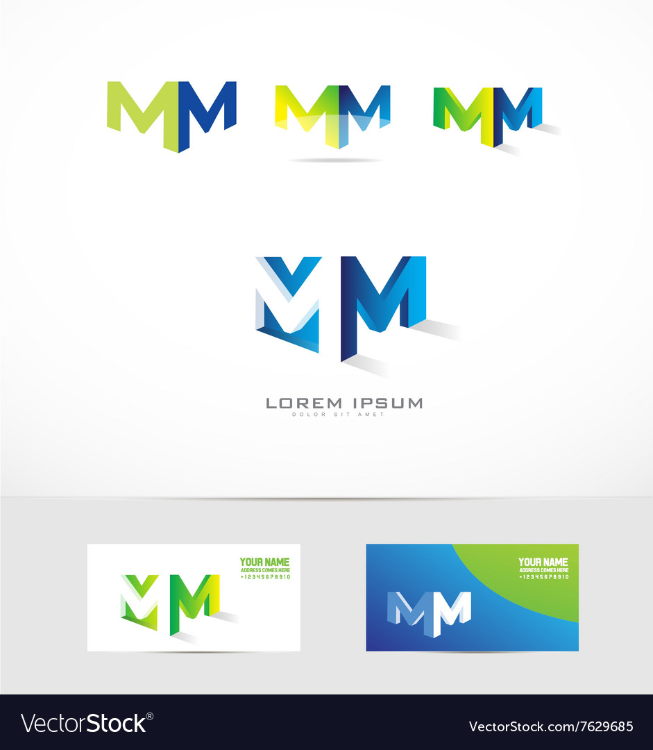 Letter m logo 3d icon set