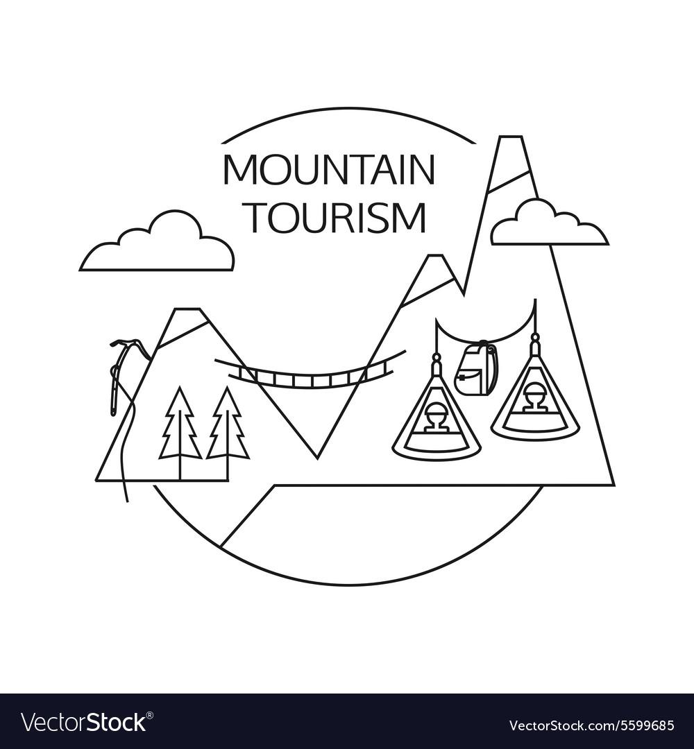 Mountain tourism outline background Minimalistic