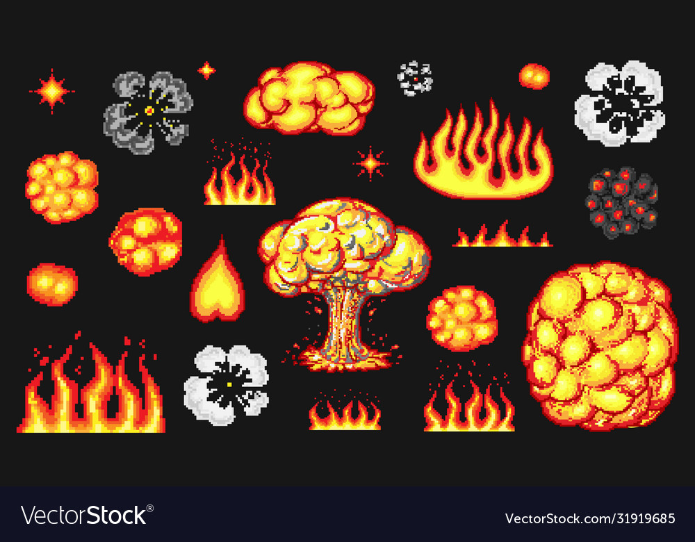 nuclear explosion pixel art 8 bit fire objects vector image vectorstock