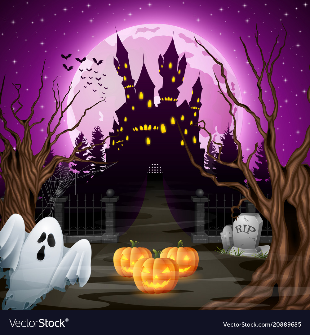 Scary castle with ghost and pumpkins in the woods
