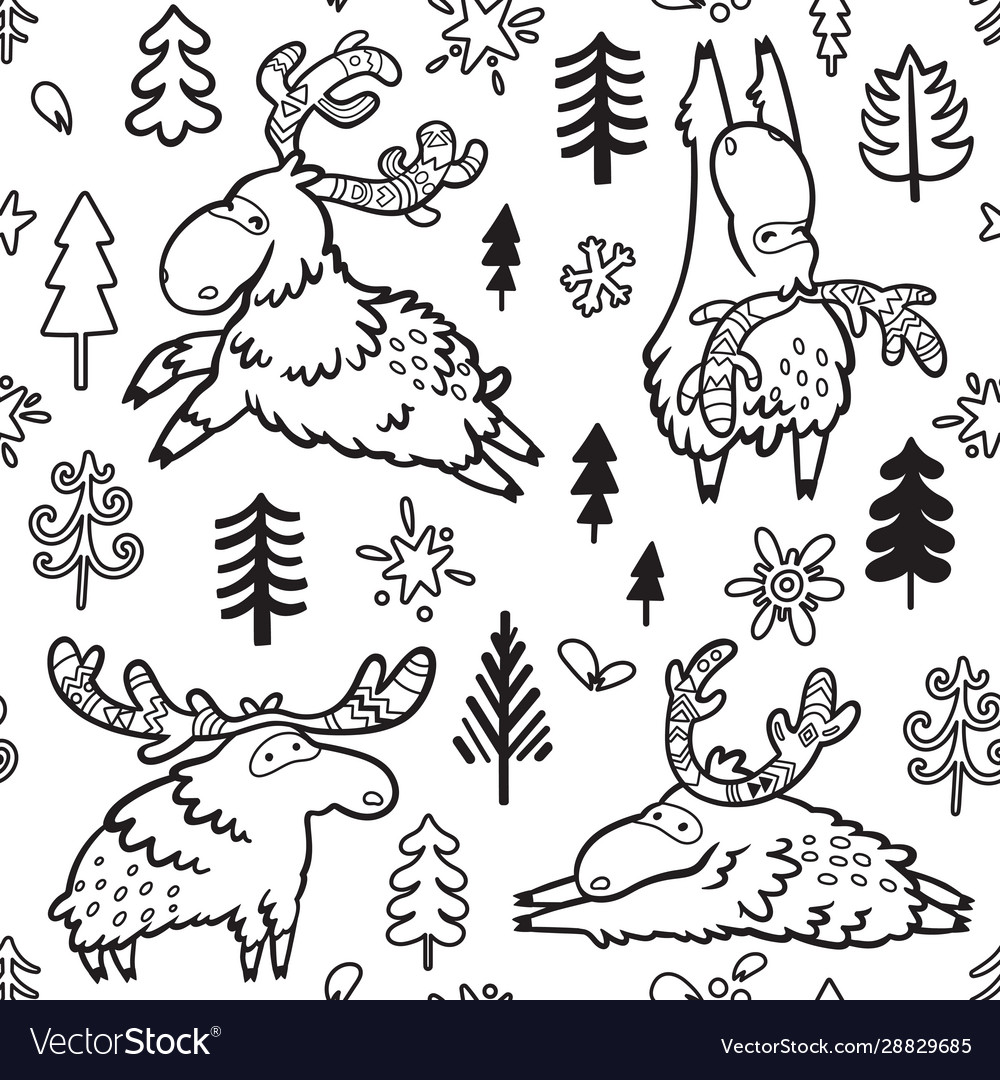 Seamless childish pattern with cute deers moose
