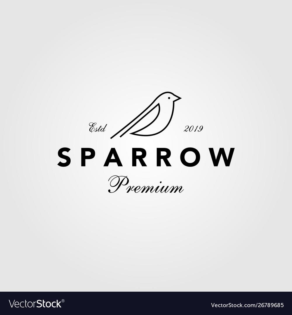 Sparrow bird logo hipster vintage retro line