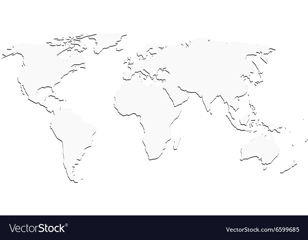 White World Map With Shadow Silhouette Royalty Free Vector