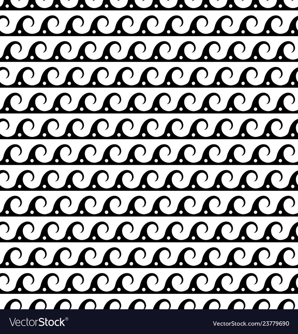 Black waves lines seamless greek pattern