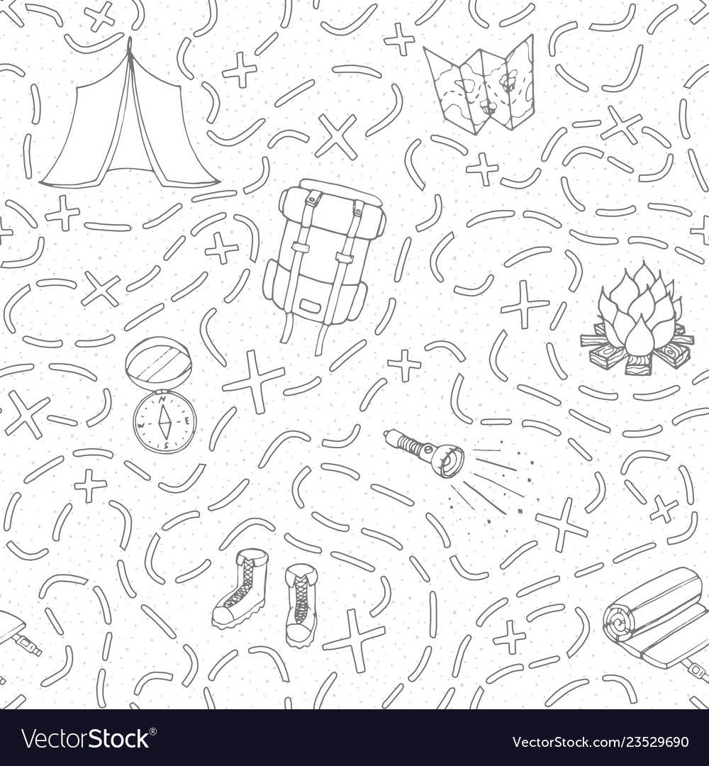 Camping seamless pattern with tent compas map