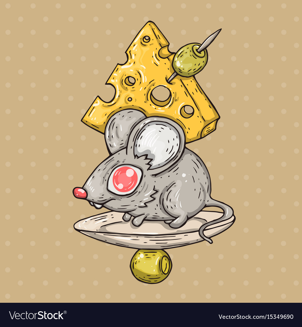 Cartoon mouse with cheese and olives cartoon