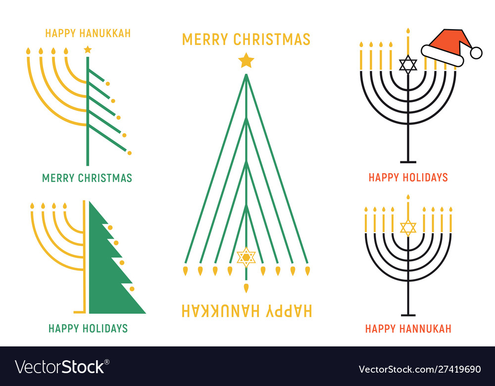 Christmas and hanukkah cards set