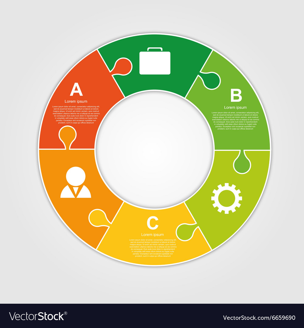 Circle puzzle infographic design on the grey vector image