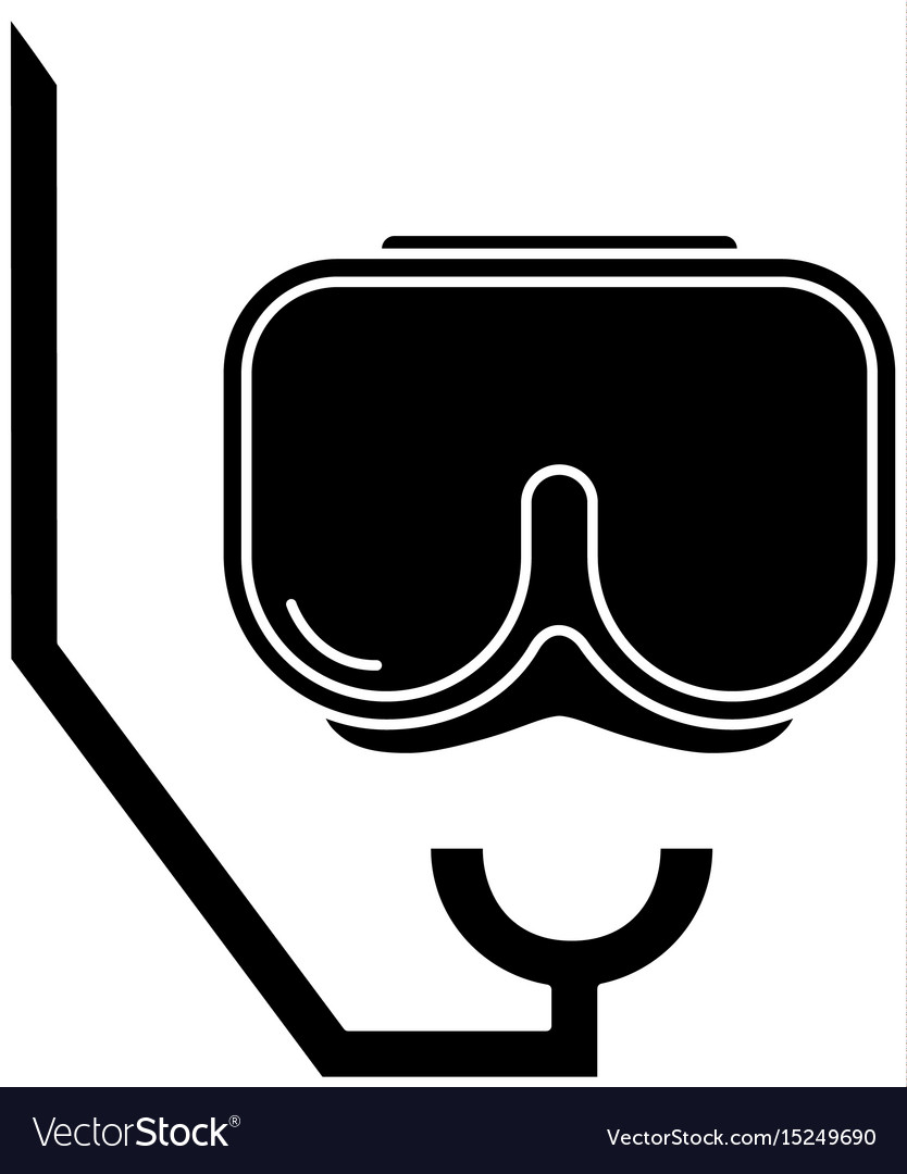 Contour diving mask to be underwater adventure vector image