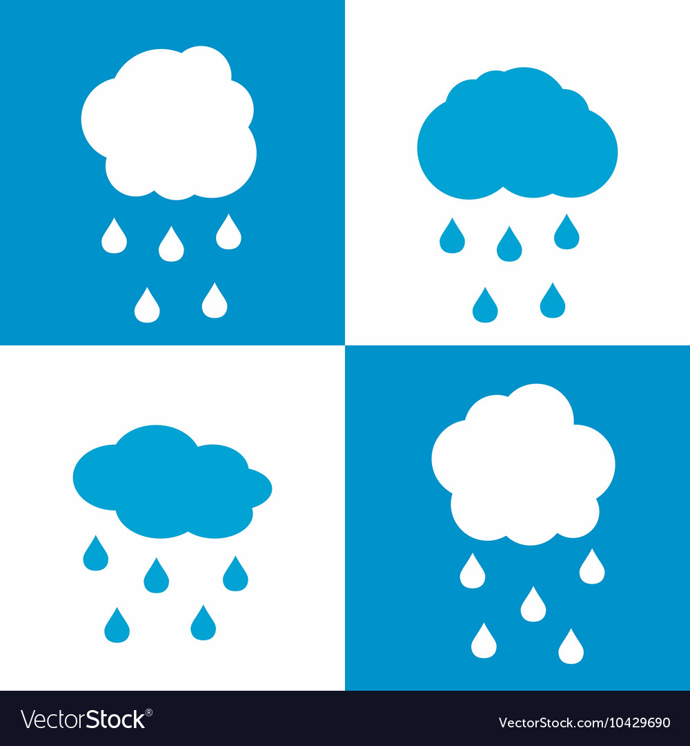 Flat cloud icons with drops on white and blue