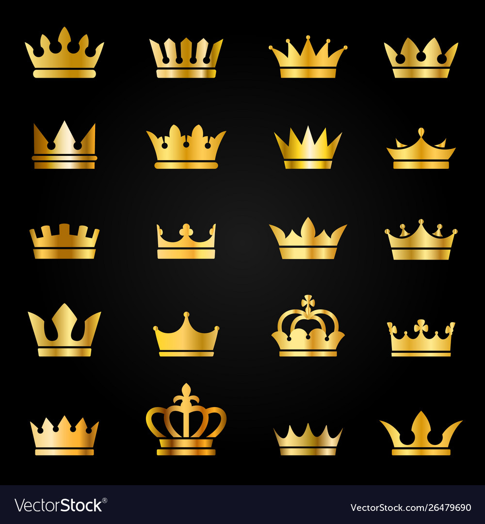 Gold crown icons queen king crowns luxury royal