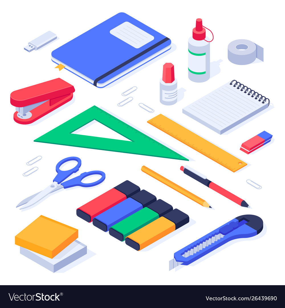 Isometric office supplies school stationery tools