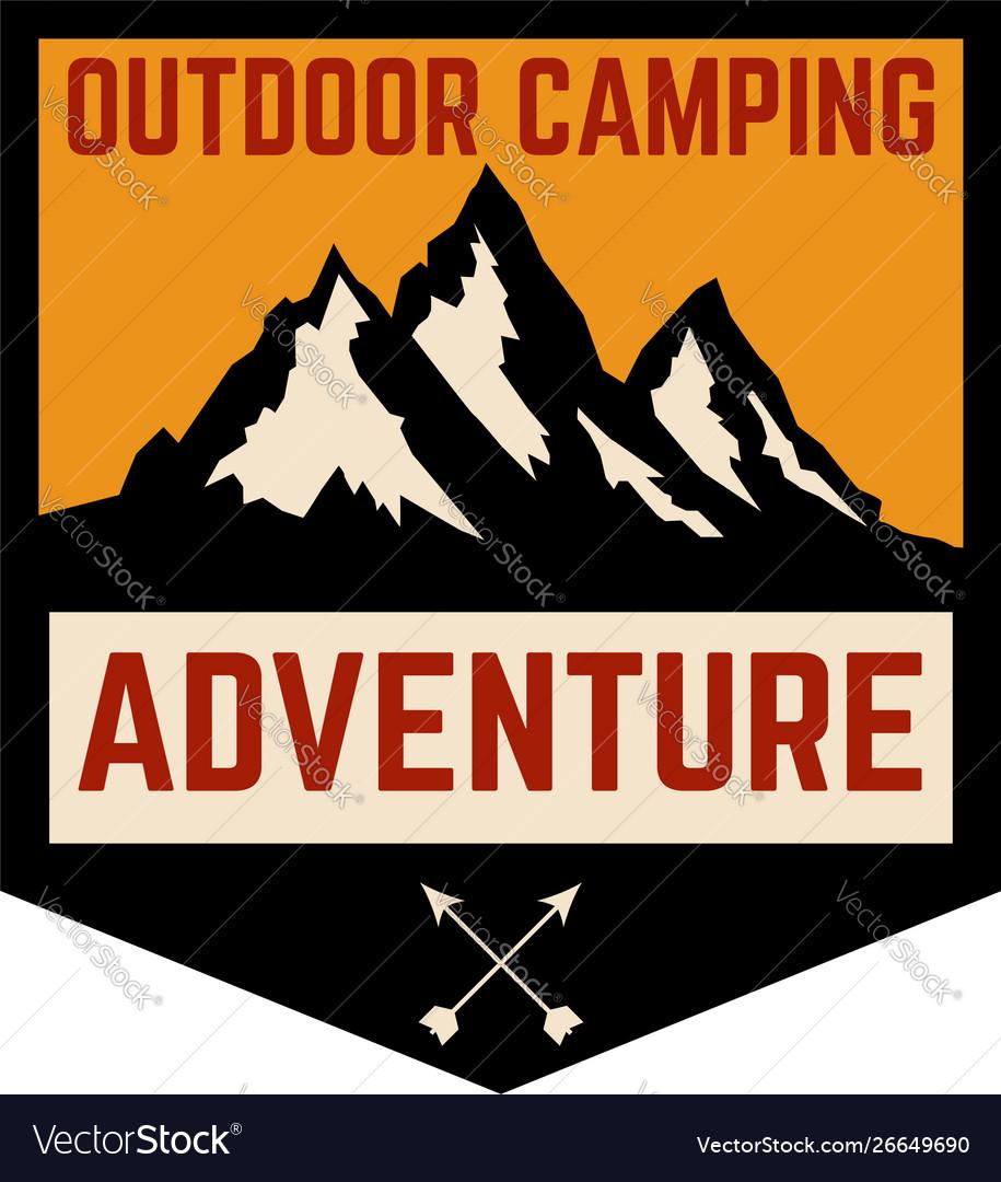 Mountain camp emblem template design element for