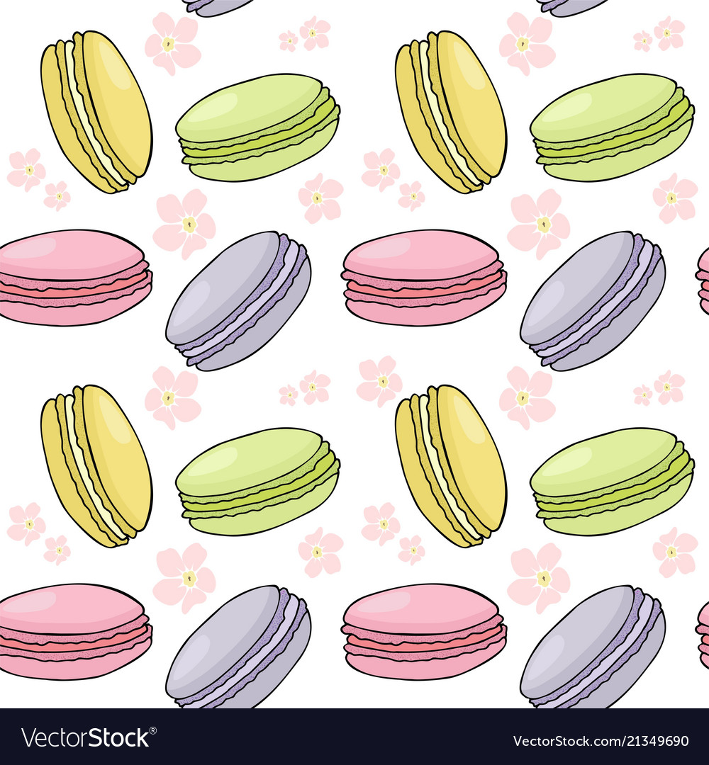 Seamless pattern with colorful macaroon or macaron