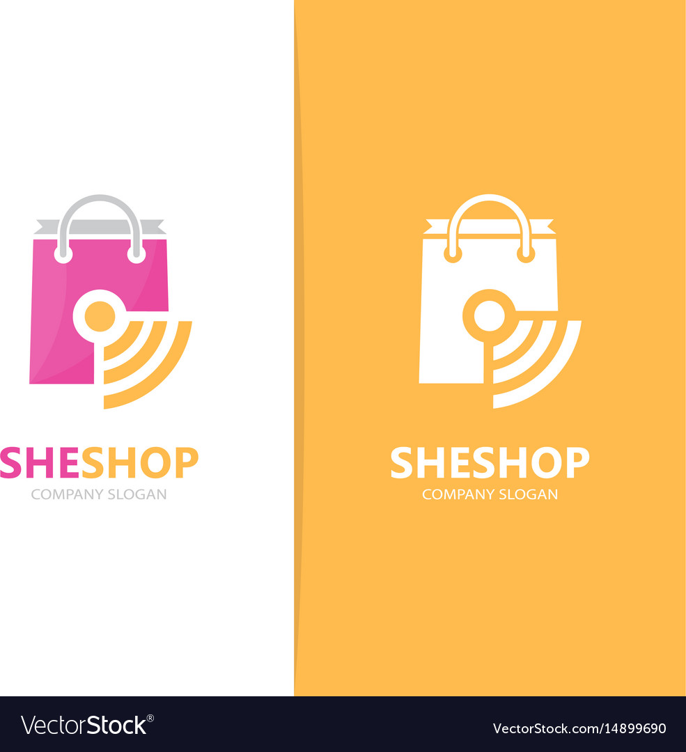 Shop and wifi logo combination sale and vector image