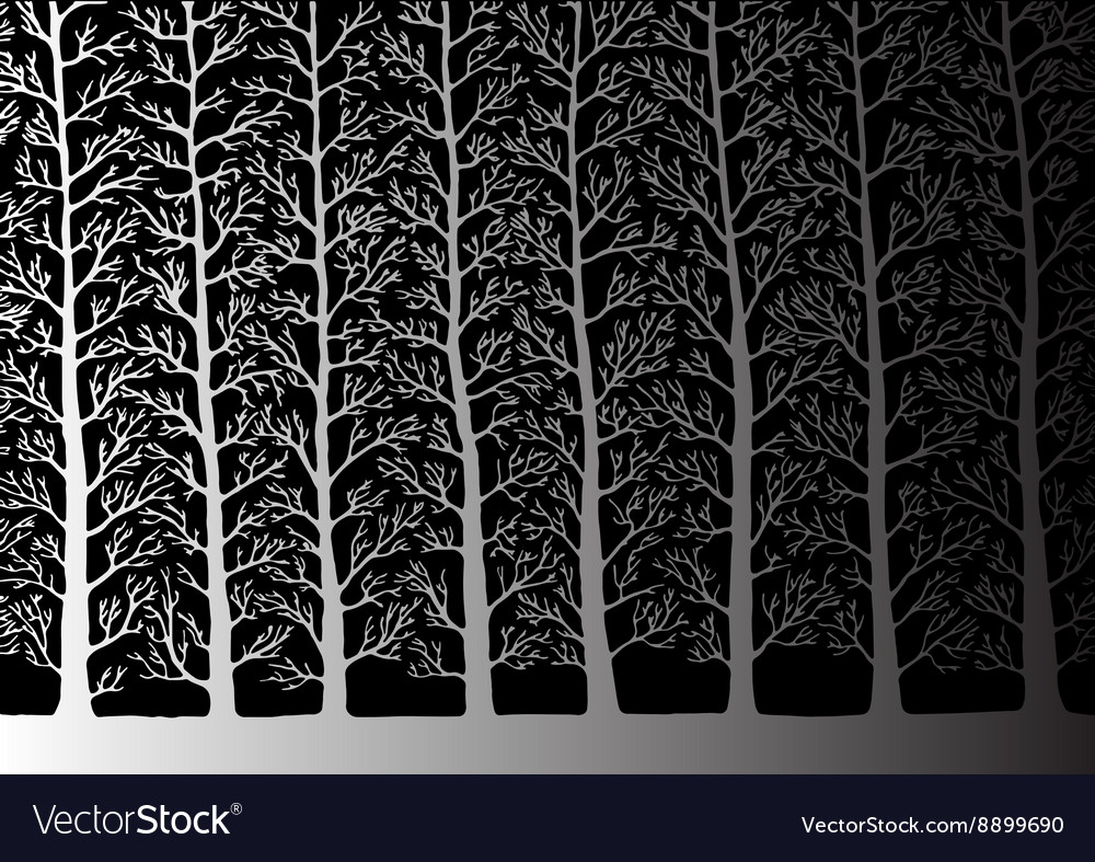 Stylized tree Forest trees silhouettes landscape vector image
