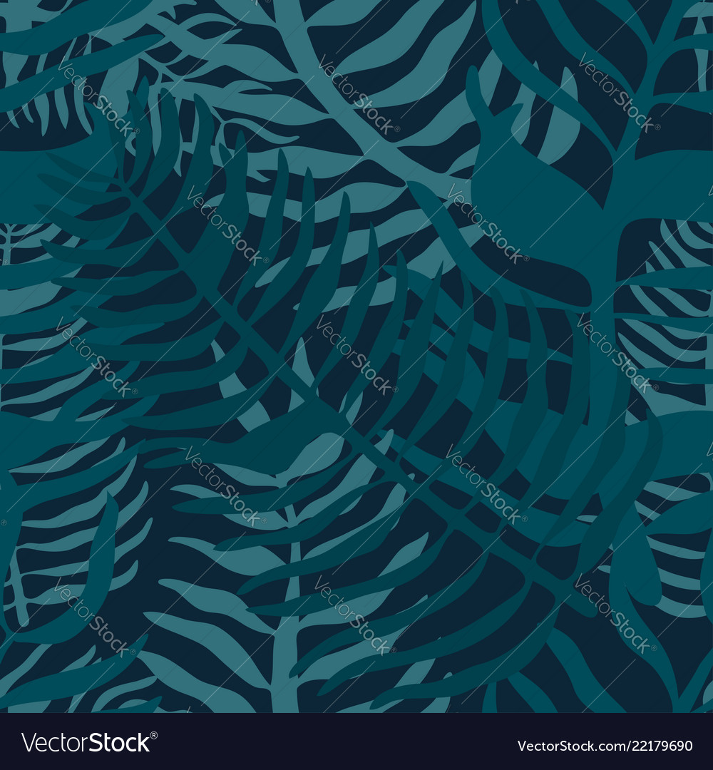 Tropical seamless pattern with palm leaves summer