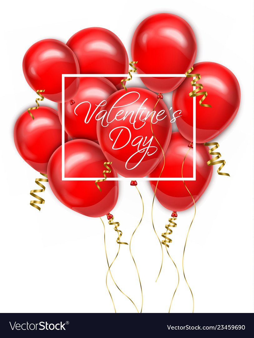 Valentine day red balloons card realistic