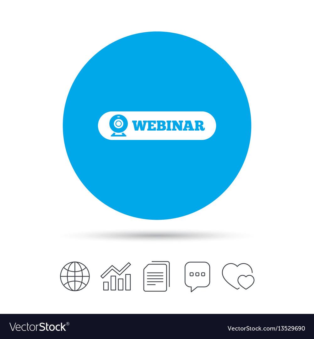 Webinar web camera sign icon online web study