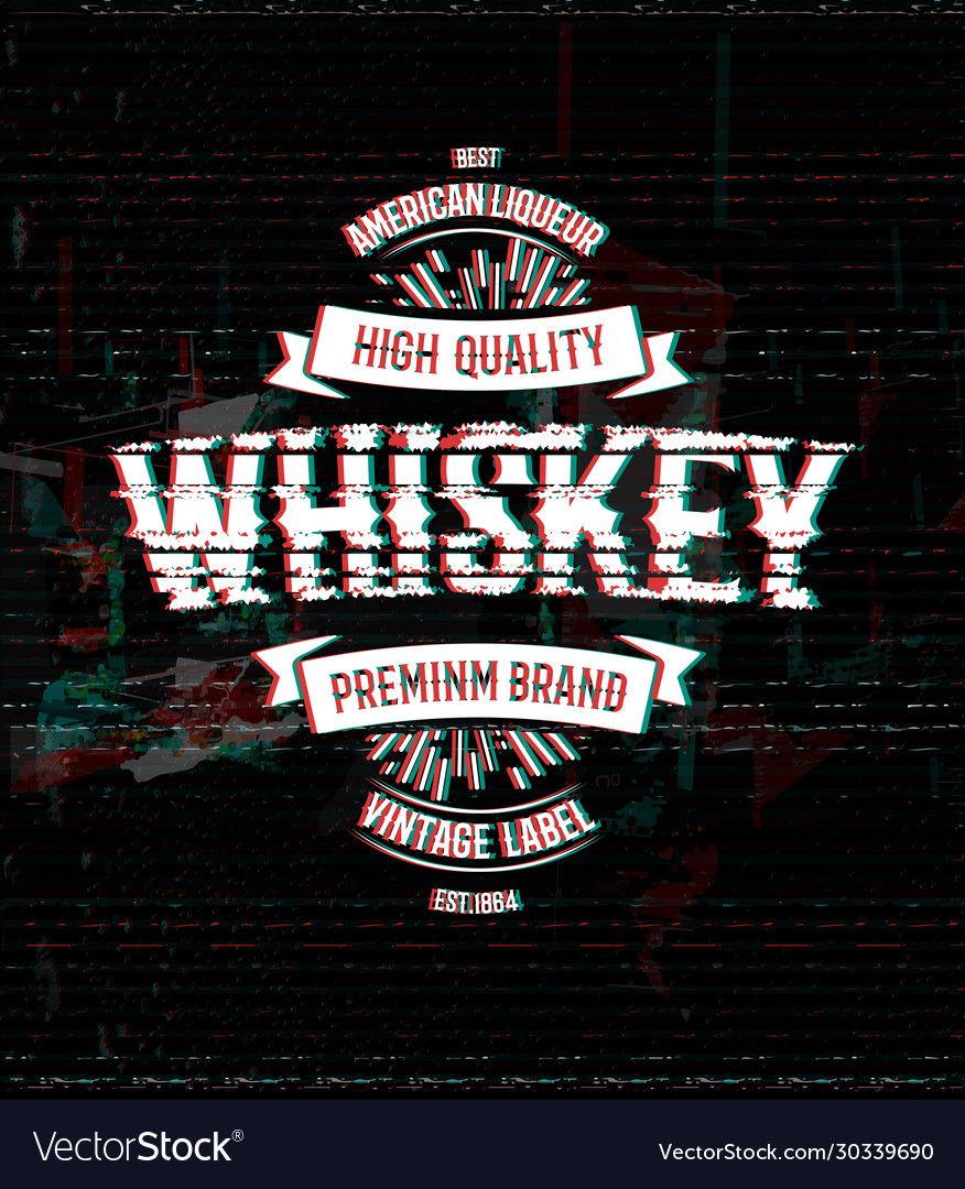 Whiskey retro logo template vintage glitch vector