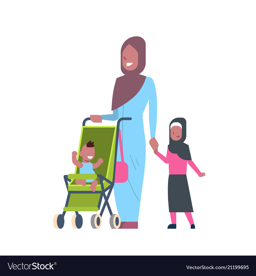 Arab mother with new born baby children in