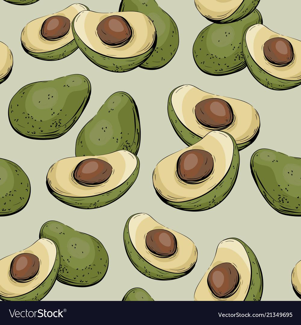 Avocado half of avocado seamless pattern