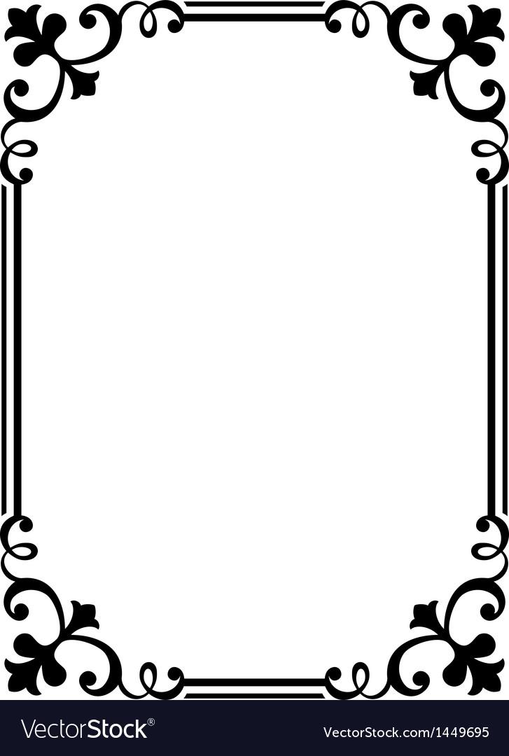 Calligraphy penmanship curly baroque frame black