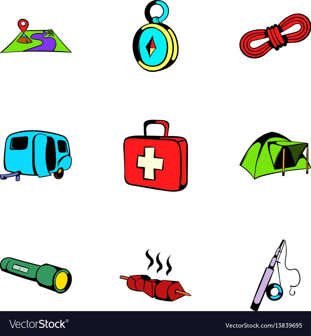 Camp icons set cartoon style