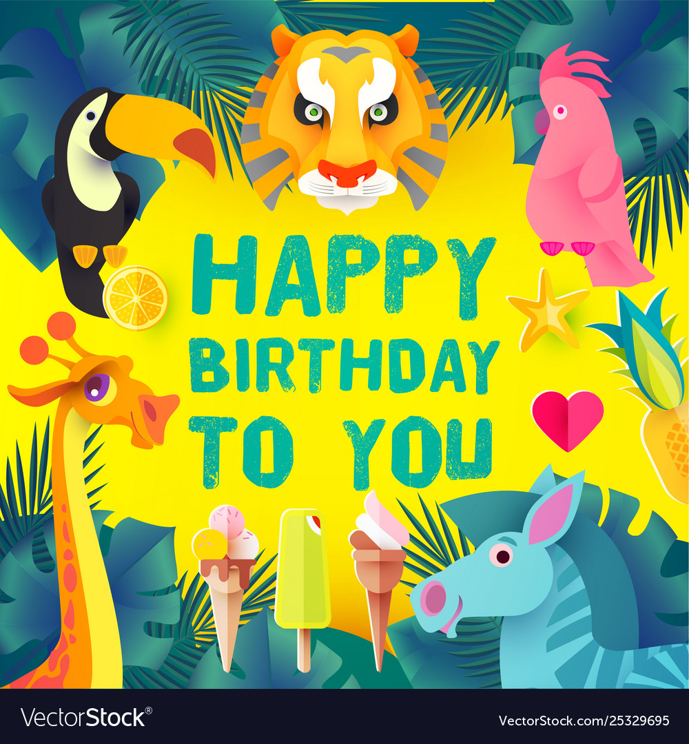 Children birthday design template exotic jungle