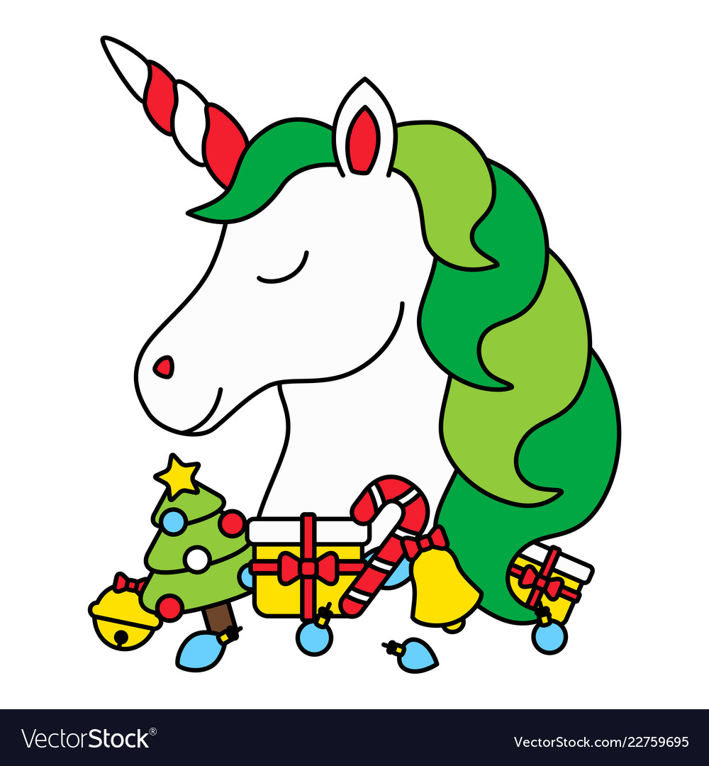 Cute christmas unicorn head with christmas items