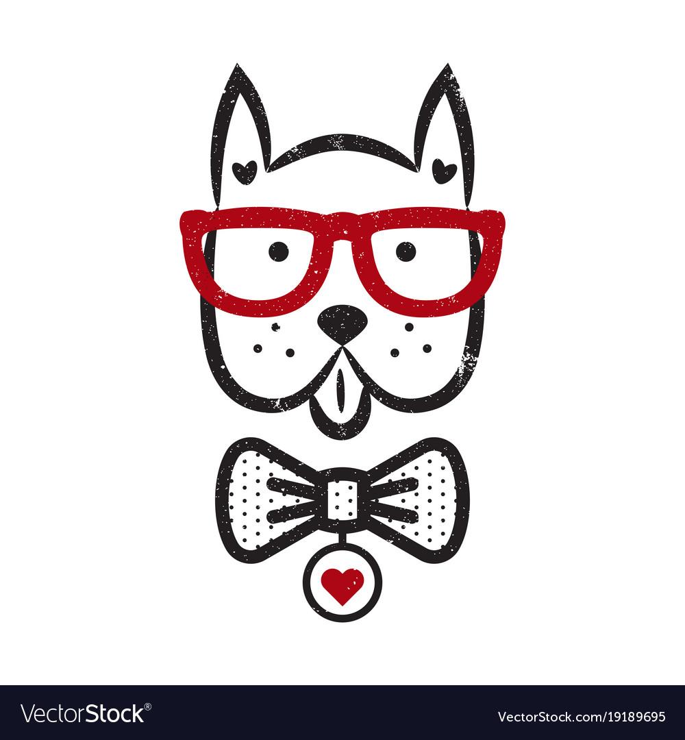 Cute gentleman dog hipster tshirt design