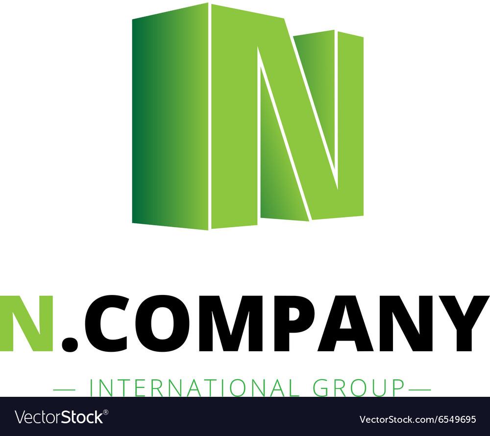 Isometric gradient N letter logo Company